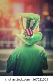 Man in costume celebrating St Patrick's Day