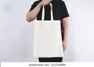 man with cotton bag  shopping bags eco mockup