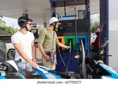 Man Couple On Gas Station Fuel Motor Bike, Happy Smiling Guys Travelling Buy Patrol