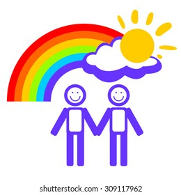 Man couple and rainbow on a white background.