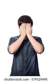 A Man Covering the Eyes with Hands on White Background