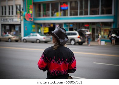 Man in cowboy hat - unrecognizable in Nashville, Tennessee