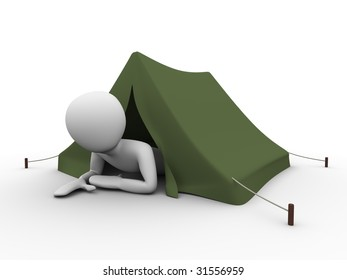 man crawling out from the tent