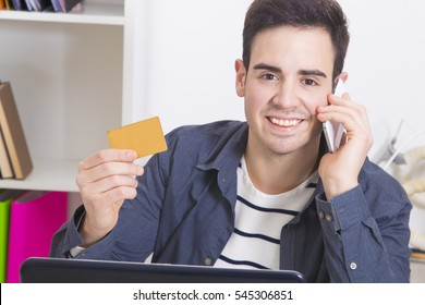 man with credit card shopping online with your phone mobile and laptop computer
