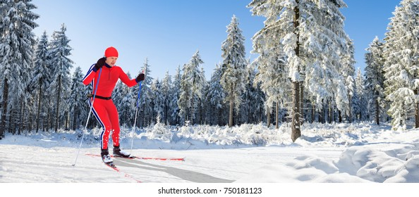 A man cross-country skiing in front of winter landscape on langlauf trai