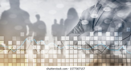 Man crossed his arms. Squares and stock market graph. Mixed media stock market