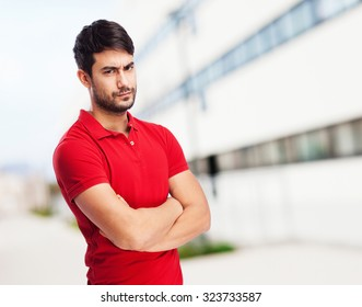 man crossing arms