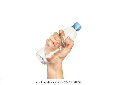 Man crushing a plastic water bottle