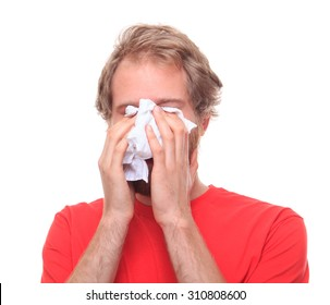 Man crying into his handkerchief - studio shoot