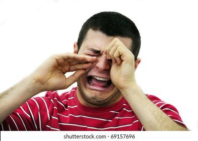 man crying isolated on white