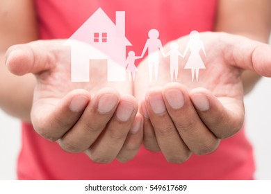 man cupped hands showing man family, Family planning and love concept