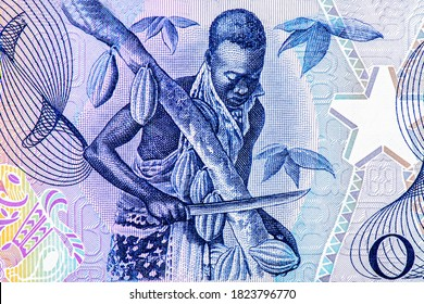Man cutting cocoa pods from tree. Portrait from Ghana 1 Cedi 1973-1978 Banknotes.