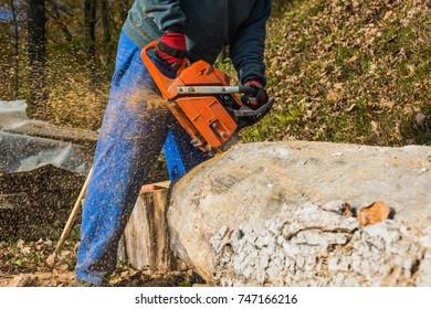 A man cutting a log with a chainsaw.