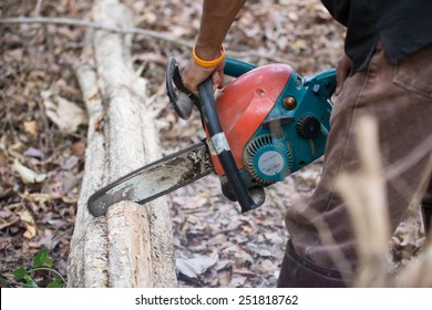 man cutting the log of wood with chainsaw
