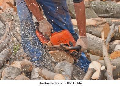 man cutting the logs, close-up