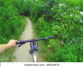 A man cyclist holds a bicycle behind the wheel with one hand in the woods. Copy space.