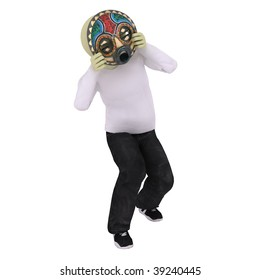 Man dance with indian mask