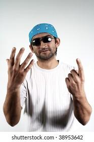 man in dark glasses and a bandana