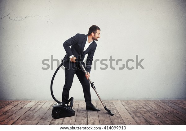 Man Dark Grey Business Suit Cleaning Stock Photo (Edit Now