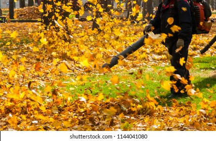 A man in dark uniform operating a heavy duty leaf blower. Leaves being swirled up