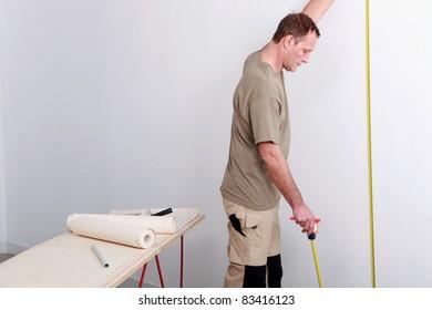 Man decorating