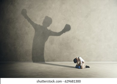 man defeated by his shadow boxing