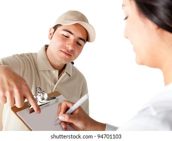 Man delivering a package and asking for a signature - isolated
