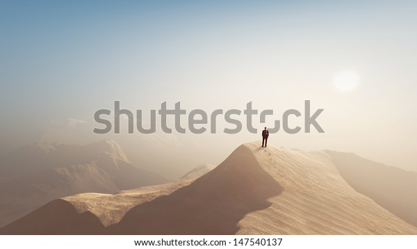 man in a desert