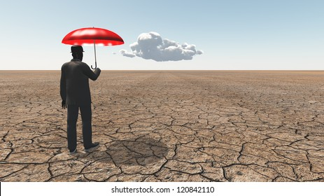 Man in desert with umbrella and single cloud