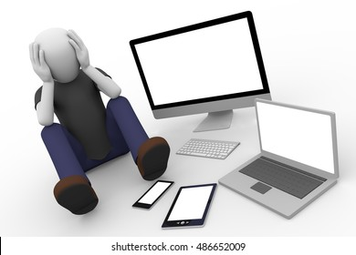 man in despair sitting on the ground with computer laptop tablet and smart phone with blank displays. Technological desperation. 3d illustration. 3d rendering
