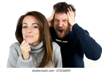Man desperate about woman being silly