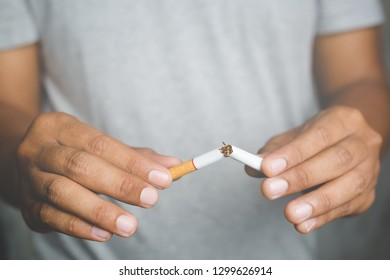 Man destroy Broken refusing cigarettes. concept for quitting smoking and healthy lifestyle.or No smoking campaign Concept.