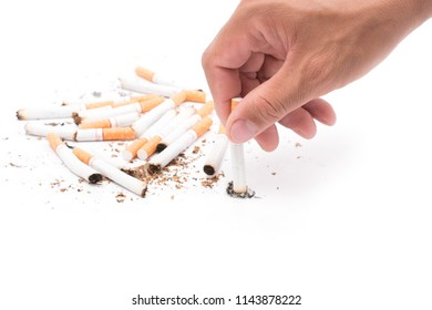 Man destroying a cigarette in his hand, concept of refuse bad habit, isolated on white background