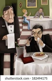 The man did not like wine. Critic. Raster illustration