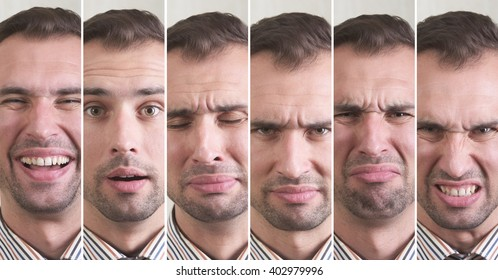 Man with different facial expressions