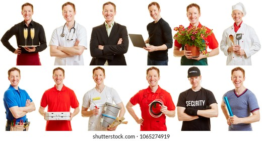 Man in different professions and positions as a career choice concept