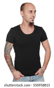 man of different types posing in blank t-shirt,isolated on white