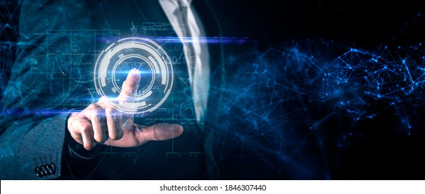 Man and digital technology, Asian CEO business man finger touch cyber world digital screen in colorful light dark blue futuristic artificial intelligence coding background.