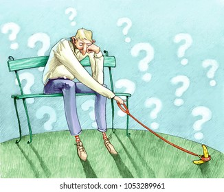 man dipped in pensiericon a banana on a leash background with sky clouds question marks