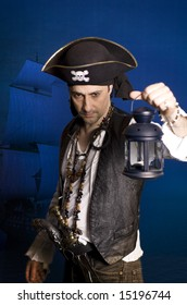 man disguised as a pirate over blue background