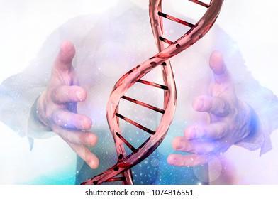 Man with DNA molecule between his hands - 3D gene manipulation concept