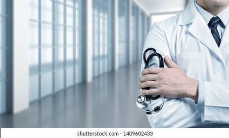 Man doctor with a black stethoscope
