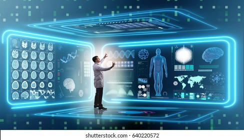 Man doctor in futuristic medicine medical concept