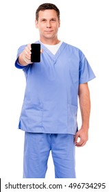 Man Doctor Nurse Hospital Worker with Mobile phone on White