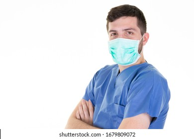 man doctor with protective covid-19 mask against virus epidemic coronavirus