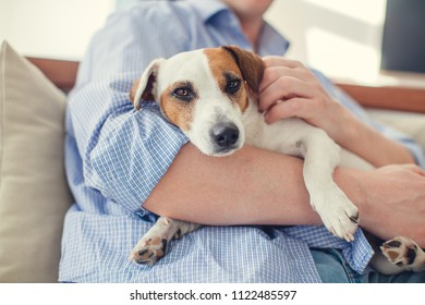 Man with dog at home. Adult man with his beloved pet