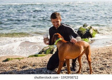 Man with a dog on a beach, attractive guy, bearded man, sports wear, friends, man playing with a dog, backpack, sea, nature, pretty face, friendly, together, happiness, sneakers, resting, coffee