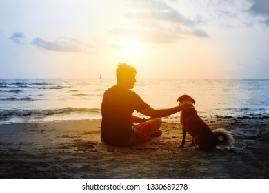 Man and dog sitting on sea beach and looking at sunset. Friendship and dedication between human and home pet concept. Outdoor walking with a dog.