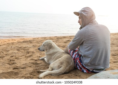 Man and dog sitting together on sand beach back view on vacation time.Rear view of hoodie hipster man and dog sitting on summer beach. Animal and human friendship concept.