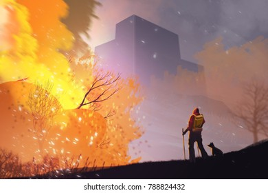 a man and dog standing among forest fire burning, digital illustration painting.